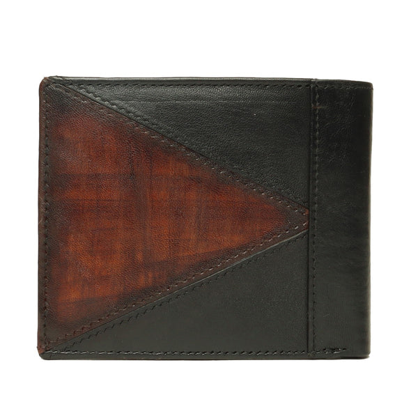 Black With Tan Color Combination Leather Wallet For Men By Brune