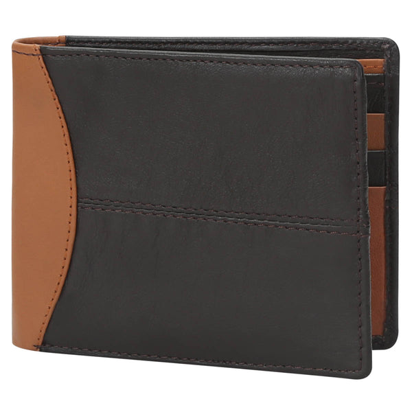 Dk. Brown With Tan Color Combination Leather Wallet For Men By Brune