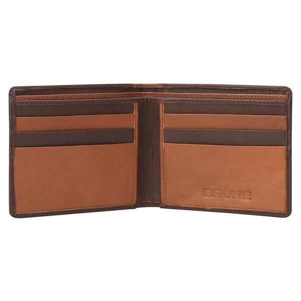 Brown With Lt. Brown Color Combination Leather Wallet For Men By Brune