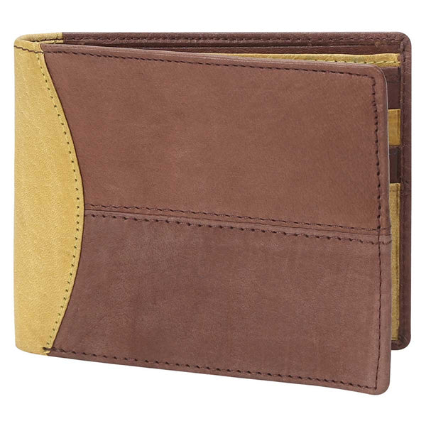 Brown With Lime Color Combination Leather Wallet For Men By Brune