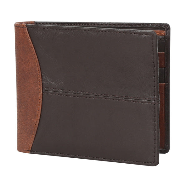 Dk. Brown With Lt. Brown Color Combination Leather Wallet For Men By Brune