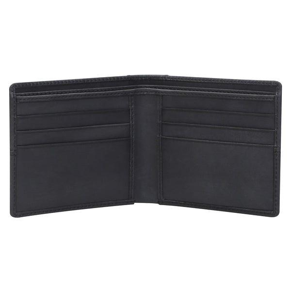 Brune Black Veg Tanned Hand Painted Leather Wallet For Men With Shiny Nicklel Finished Brune Logo