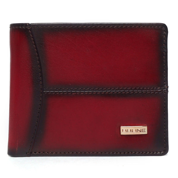 Brune Wine Hand Painted Leather Wallet For Men