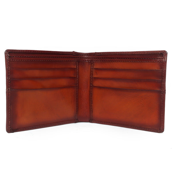 Brune Tan Hand Painted Leather Wallet For Men
