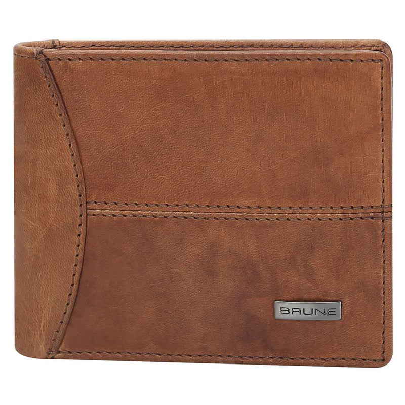 Dark Tan Veg-Tanned Leather Bi-Fold Men'S Wallet By Brune