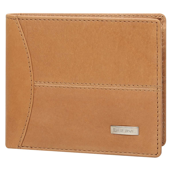 Tan Veg-Tanned Leather Bi-Fold Men'S Wallet By Brune