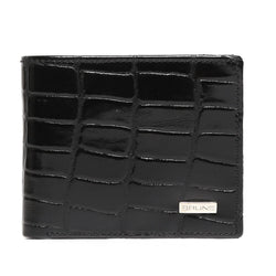 Black Croco Patent Leather Bi-Fold Men Wallet By Brune