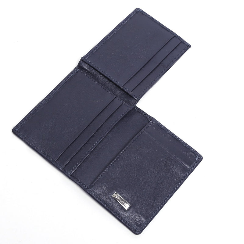 Blue Lamb Leather 3-Fold Men Wallet By Brune