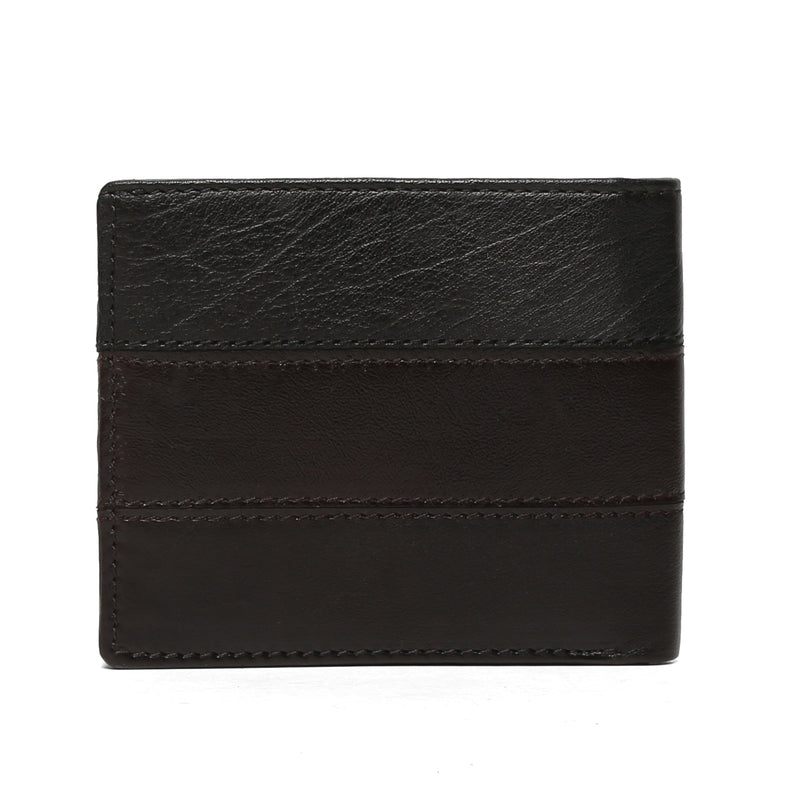 Textured Leather Stripes Gunmetal Finish Plate Wallet By Brune