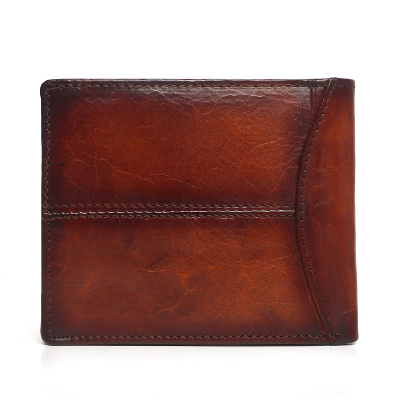 Tan Natural Shade Leather Gunmetal Plate Men Wallet By Brune
