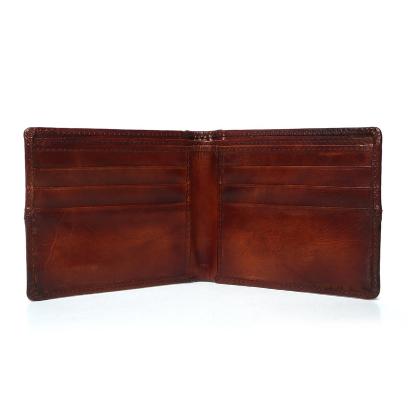 Tan Natural Shade Leather Silver Plate Men Wallet By Brune