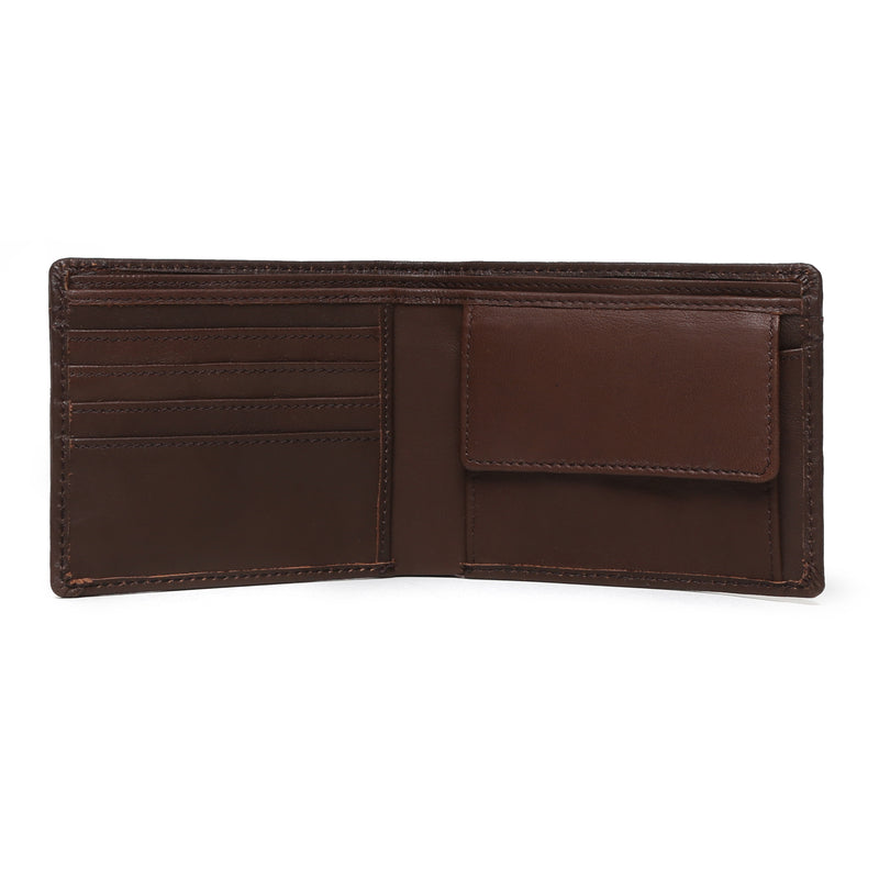 Brown Parallel Stitched Line Leather Wallet With Gunmetal Finish Brand Plate By Brune