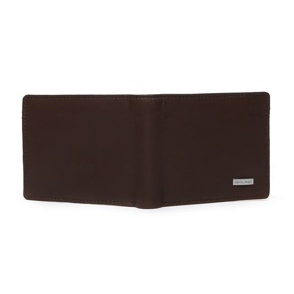 Classic Brown Silver Plate Leather Wallet By Brune