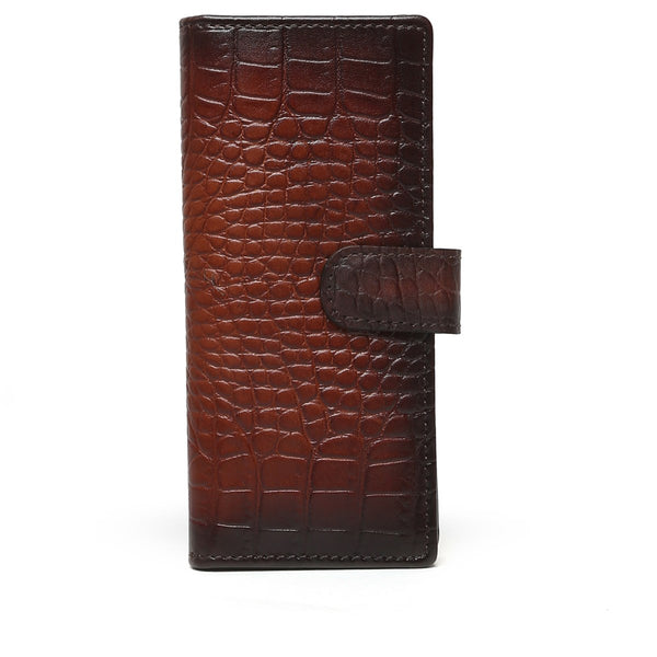 Brown Croco Print Leather Long Unisex Wallet By Bareskin