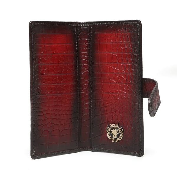 Wine Croco Print Leather Long Unisex Wallet By Bareskin
