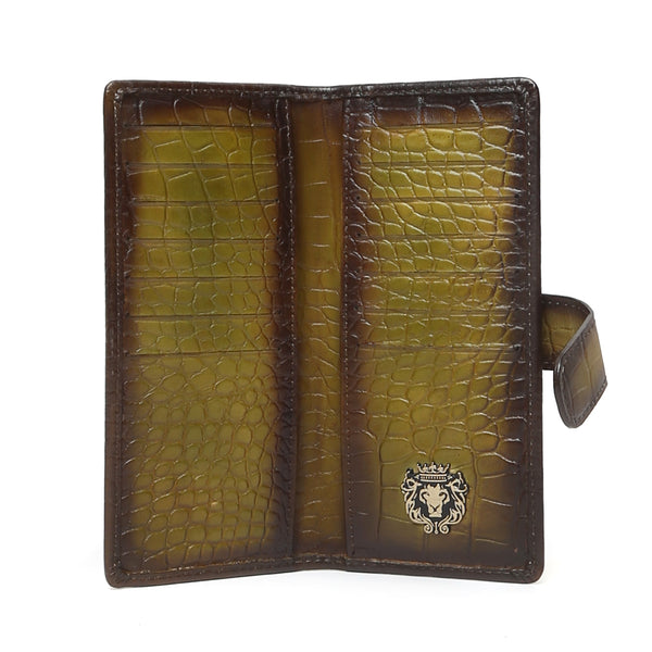 Olive Croco Print Leather Long Unisex Wallet By Bareskin