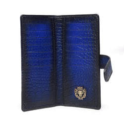 Navy Croco Print Leather Long Unisex Wallet By Bareskin