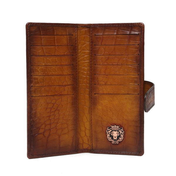 Tan Croco Print Leather Long Unisex Wallet By Bareskin