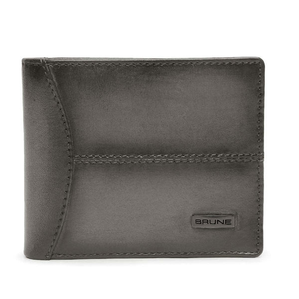 Grey Leather With Gunmetal Logo Hand Finished Wallet By Brune