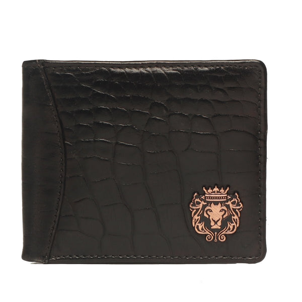 Black Croco Print Leather Men Wallet By Bareskin