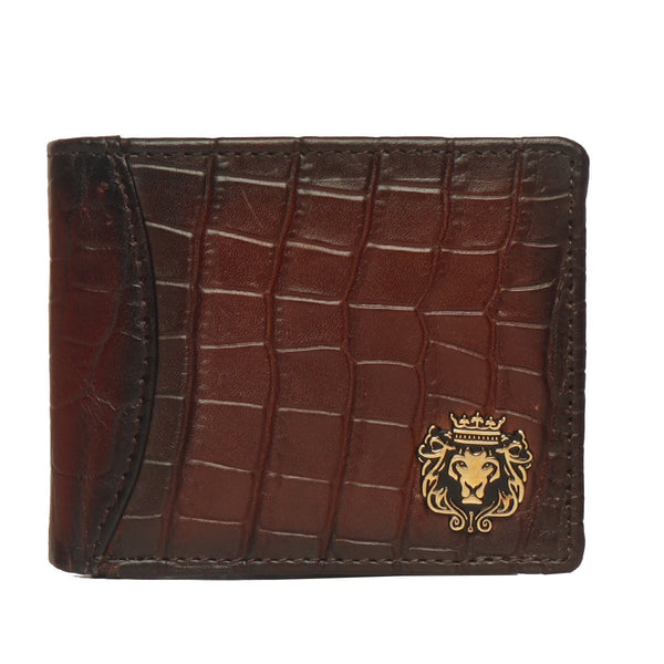 Brown Croco Print Leather Men Wallet By Bareskin