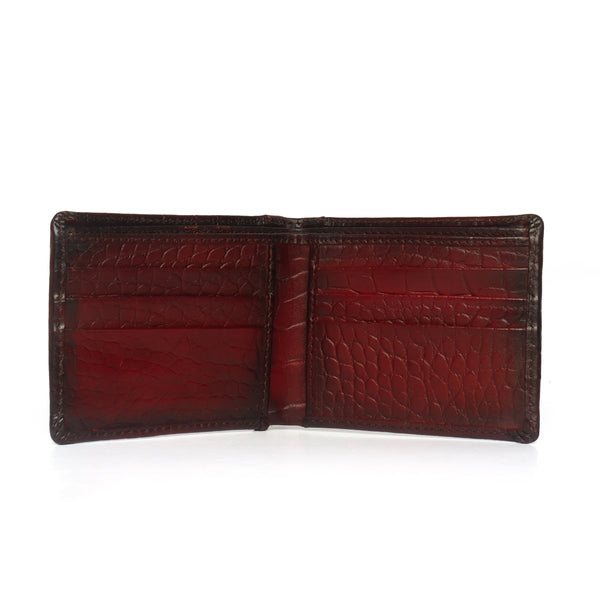 Wine Croco Print Leather Men Wallet By Bareskin