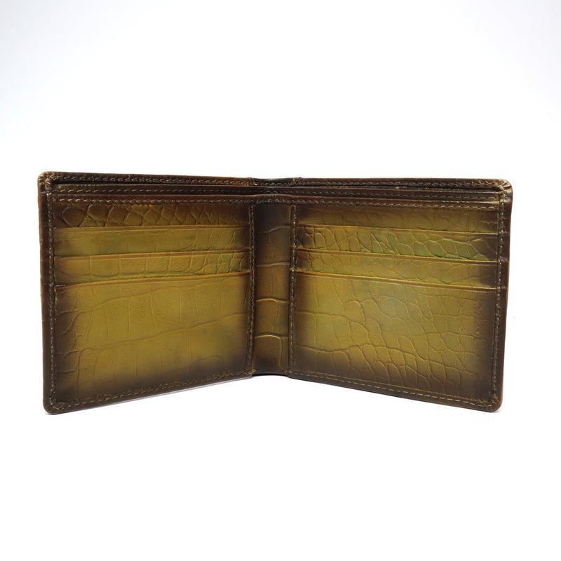 Olive Croco Print Leather Men Wallet By Bareskin