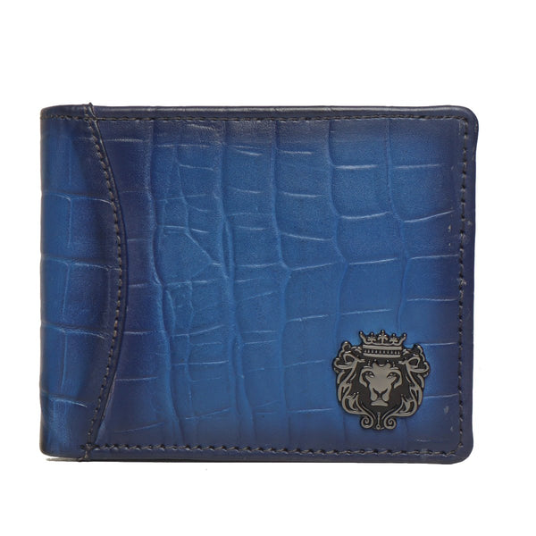 Blue Croco Print Leather Men Wallet By Bareskin