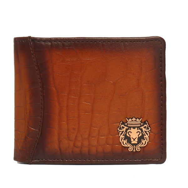 Tan Croco Print Leather Men Wallet By Bareskin