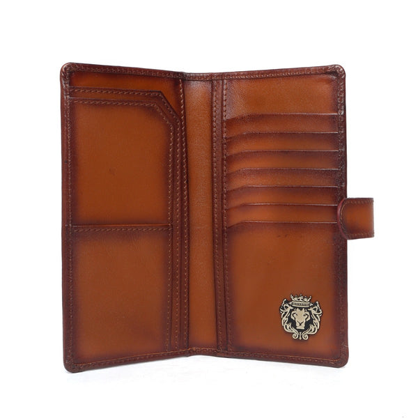 Tan Plain Leather Long with Multi-Pockets Unisex Wallet By Bareskin