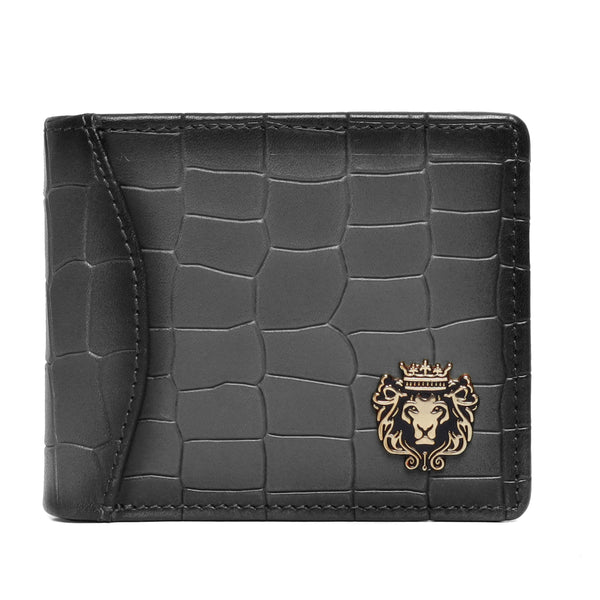 Grey Deep Cut Croco Print Leather Men Wallet By Bareskin
