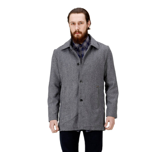 Bareskin Men's Grey Plain Classic Long Woollen Coat