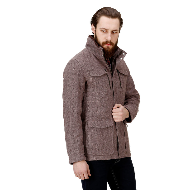 Bareskin Men's Rose Gold Plain Classic Long Woollen Coat