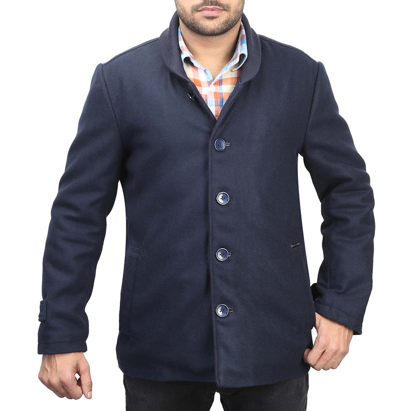 Bareskin Men's Navy Plain Classic Woollen Coat