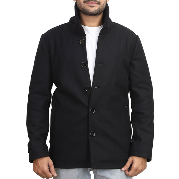 Bareskin Black Color Woollen Coat For Men