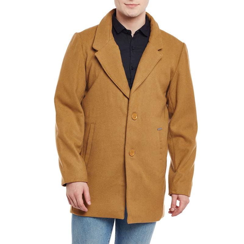 Bareskin Men's Beige Plain Classic Long Woollen Coat