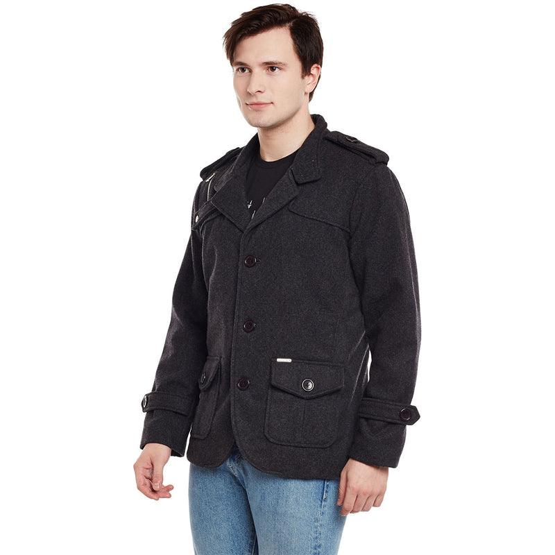 Bareskin Men's Charcoal Plain Classic Woollen Coat