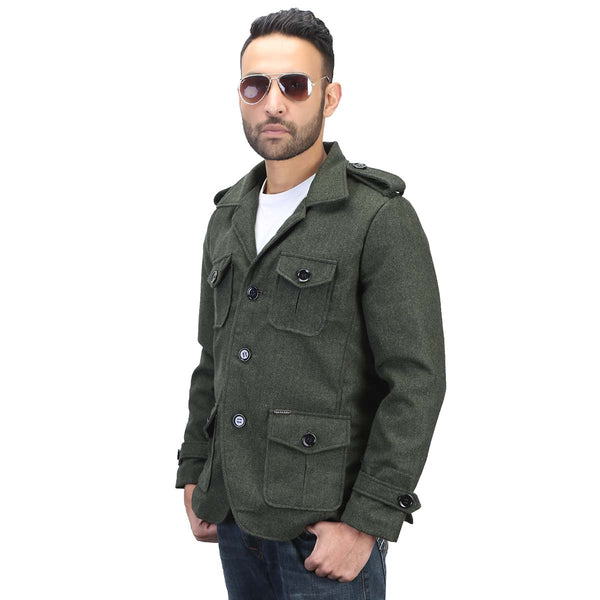 Green Self-Woven Woollen Blazer For Men By Bareskin