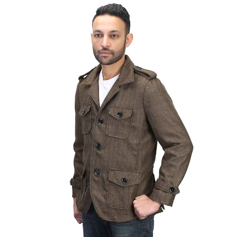 Brown Self-Woven Woollen Blazer For Men By Bareskin