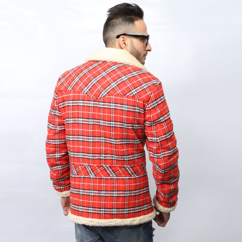Red Checked White Fur Wool Coat By Bareskin