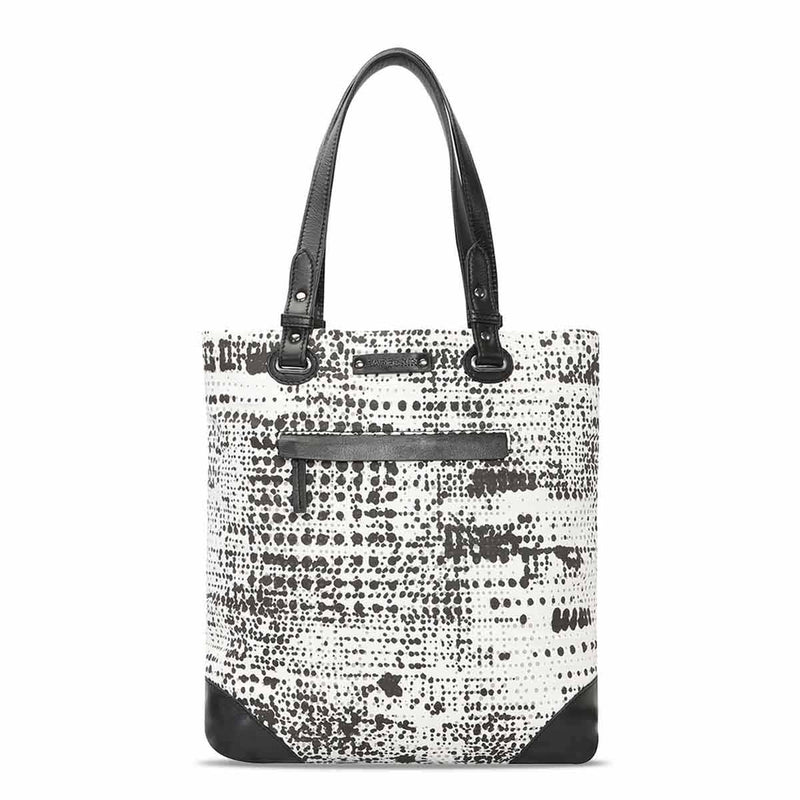 Bareskin Abstract Print Canvas & Leather Trimed Ladies Shopper Bag