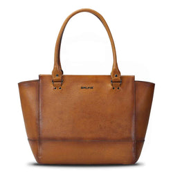 Tan Full Grain Hand Painted Leather Satchel Bag By Brune