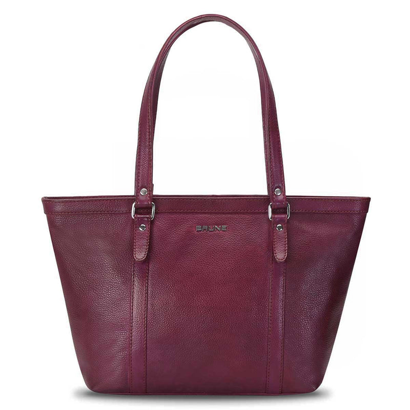 Wineberry 100% Genuine Leather Satchel By Brune