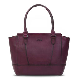 Wineberry Leather Hand Painted Satchel Bag By Brune