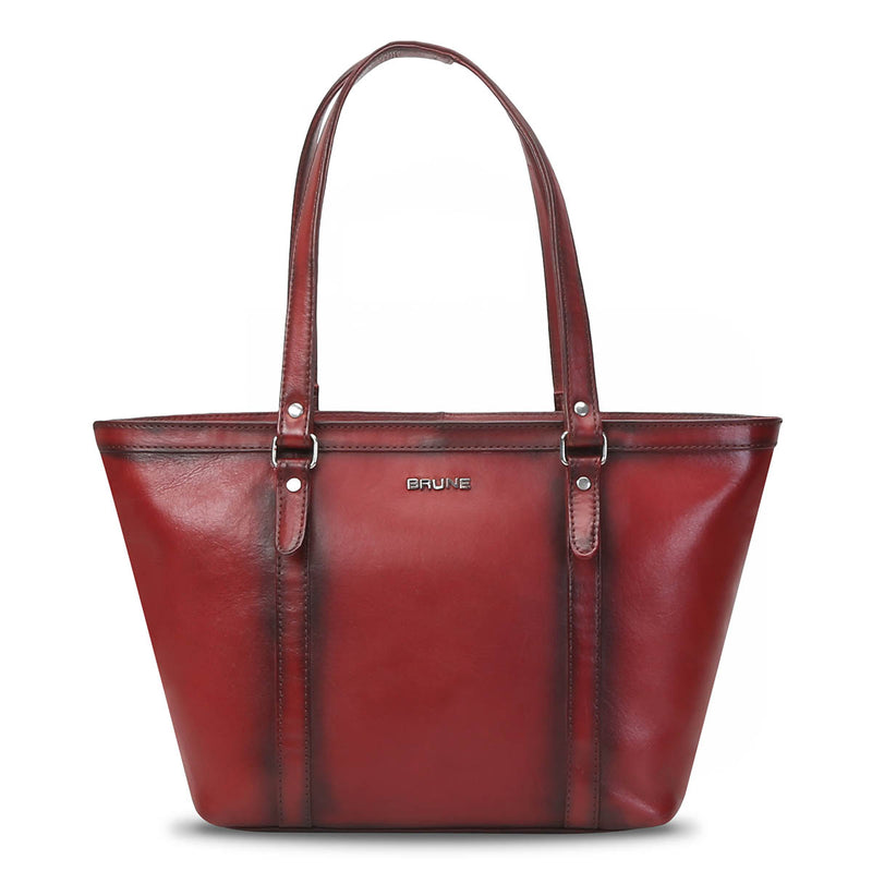 Wine Hand Painted Leather Satchel By Brune