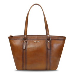 Tan Hand Painted Satchel By Brune