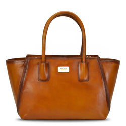 Brune Hand Painted Burnished Tan Leather Hand Bag/Satchel For Women