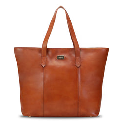 Tan Shopping Bag in Leather With Two Compartment Opening for women
