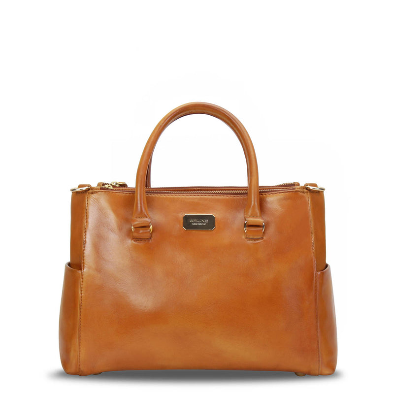 Stylish Tan Genuine Leather Ladies Handbag By Brune