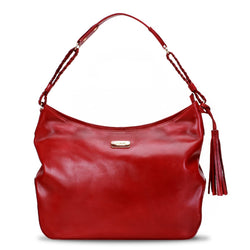 Red Genuine Leather Satchel Bag By Brune